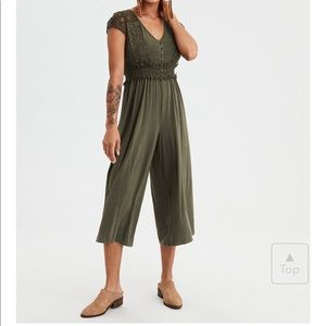AE NWOT knit lace culotte jumpsuit in olive small
